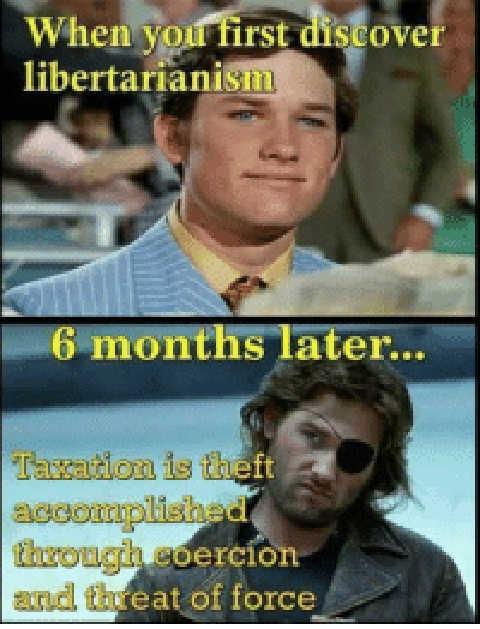 when you first discover libertarianism taxes kurt russell snake plisskin