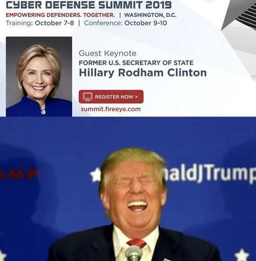 hillary clinton to be keynote speaker at cyber summit trump laughing