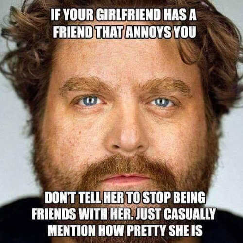 if you had girlfriend has friend that annoys you tell her shes hot