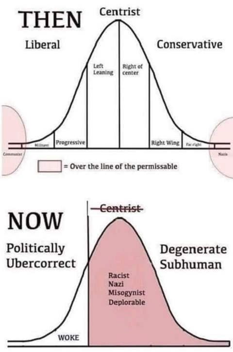 liberal conservative graph then now nazi sub human woke
