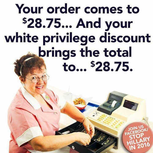order comes to 28.75 white privilege discount same thing