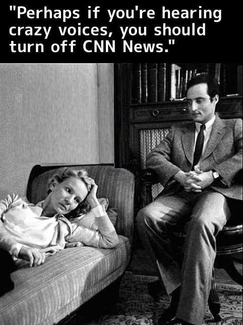 perhaps if hearing crazy voices you should turn off cnn news therapist