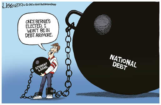 student free of student loan debt bernie shackled with national debt