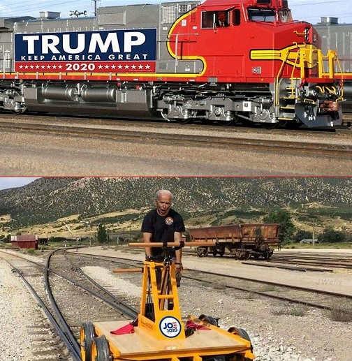 trump train compared to joe biden campaign