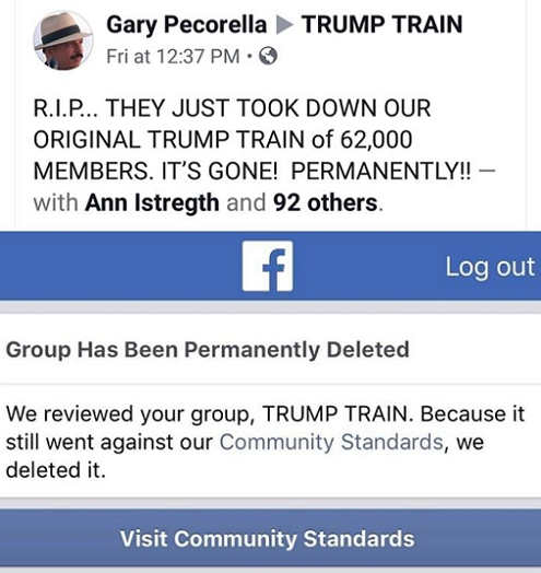trump train group removed from facebook