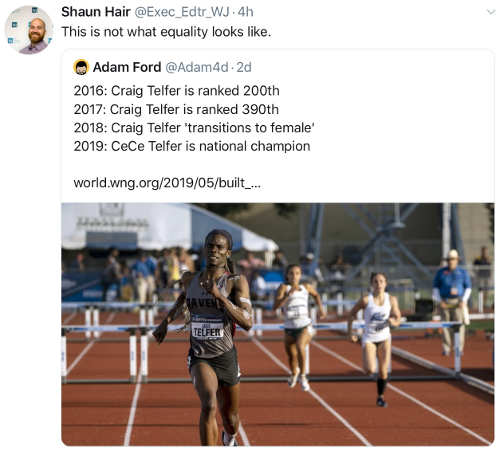 tweet craig telfer changing to woman to win track