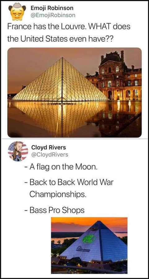 tweet france has lourve what does us have flag on moon back to back world war championships bass pro shops