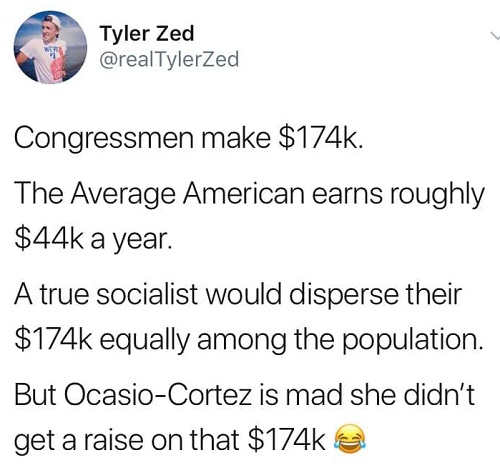tweet ocasio cortez makes 174k true socialist would disperse equally among population
