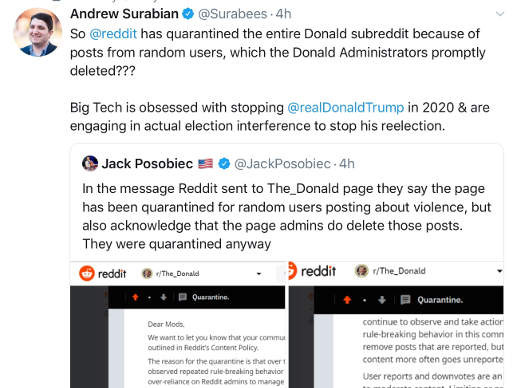 tweet reddit quarantees trump group because of a few random posts