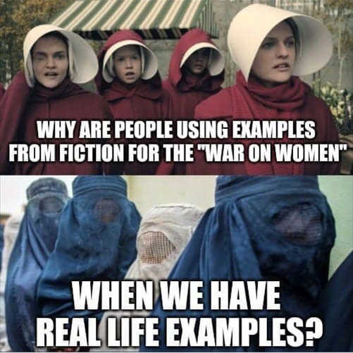 why are people using examples from fiction war won women real life examples muslims