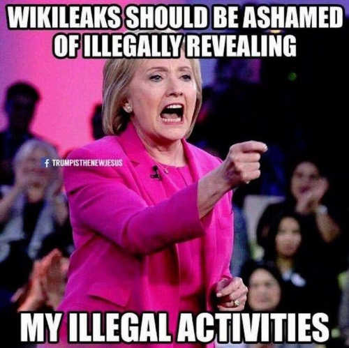 wikileaks should be ashamed of illegally revealing my illegal activities hillary clinton