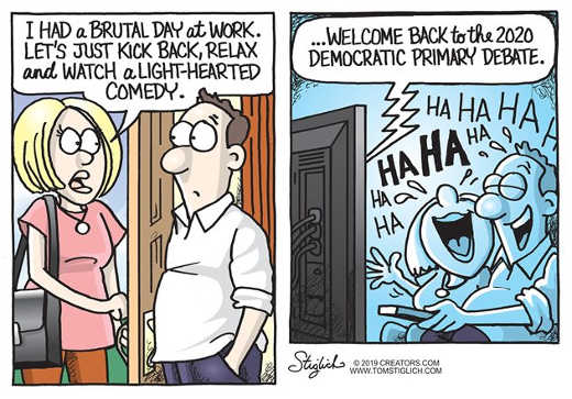 after day of work watch light hearted comedy democrat debates