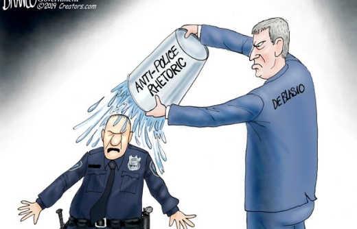 anti police rhetoric bill de blasio bucket water poured on cops