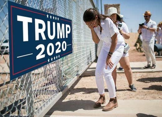 aoc trump 2020 fence crying