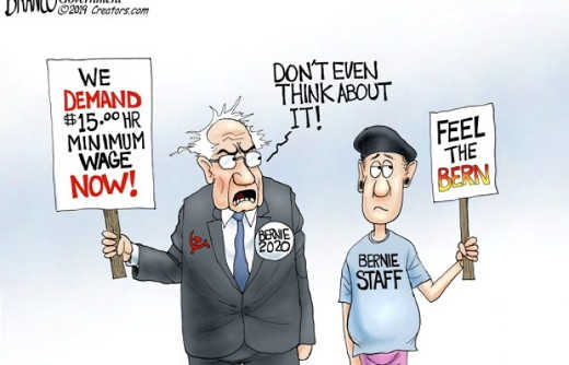 bernie sanders we demand 15 minimum wage staff dont even think abou it