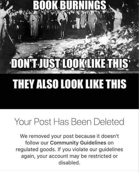book burnings not just like this also your post has been deleted community guidelines