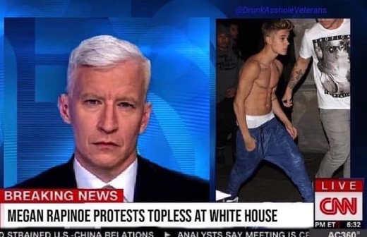 cnn megan rapinoe topless protest justin bieber cnn