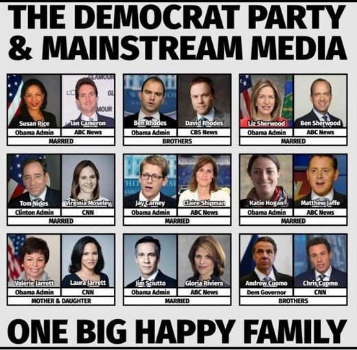 democrat party mainstream media one big happy family cuomo rice jarrett obama