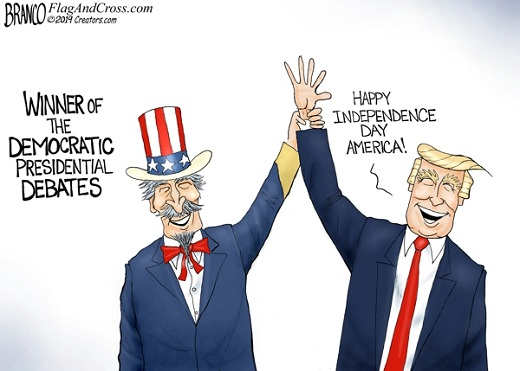donald trump winner of democratic debates happy independence day