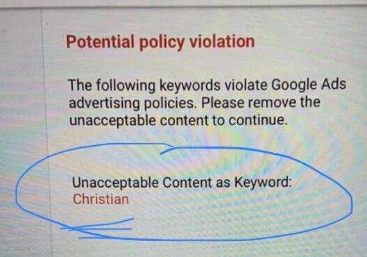 google ad unacceptable content as keyword google
