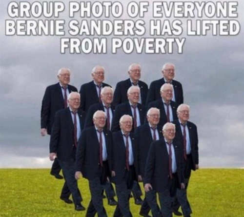 group photo of everyone bernie sanders has lifted out of poverty himself