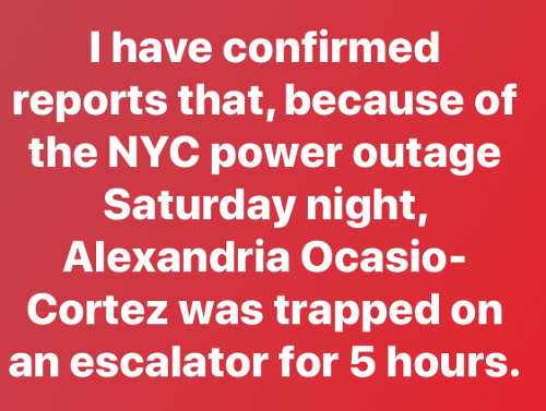 ive confirmed reports aoc trapped on escalator 5 hours from nyc power outage