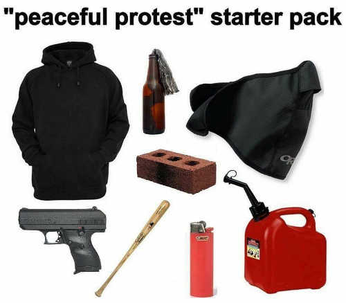 peaceful protest starter pack brick gasoline bat mask