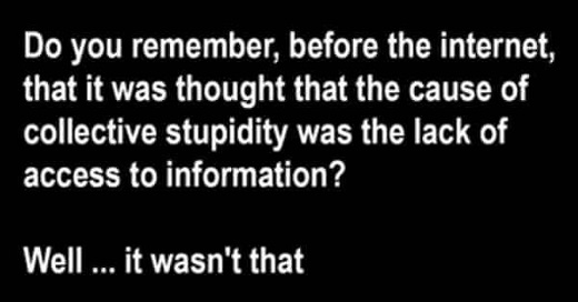remember before internet cause of collective stupidity was lack of access to information it wasnt that