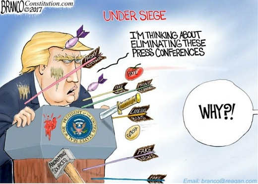 trump under siege press corps hate fake news eliminating these press conferences