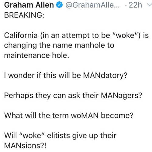 tweet california woke manhole to maintenance hold mandatory