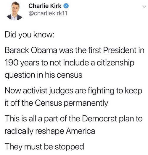 tweet charlie kirk barack obama first president not to have citizenship on census