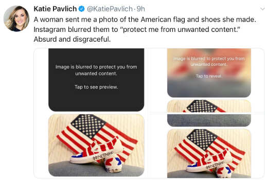 tweet instagram photo blocked out offensive us flag