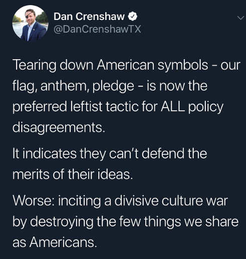 tweet tearing down american symbols flag anthem pledge new leftist tactic