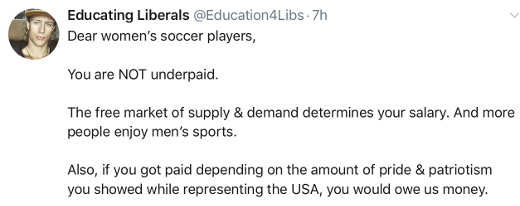 tweet womens socer players you are not underpaid market and disrespect for country