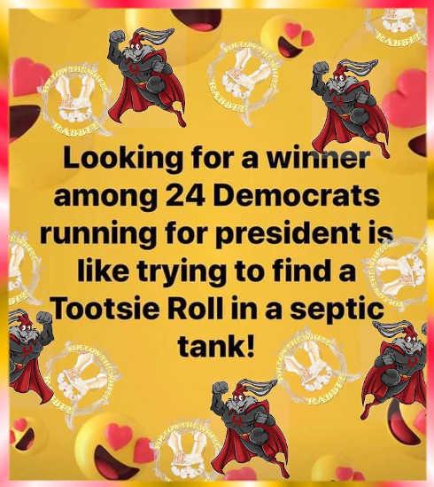 winner of democratic presidential debate looking for tootsie roll in septic tank