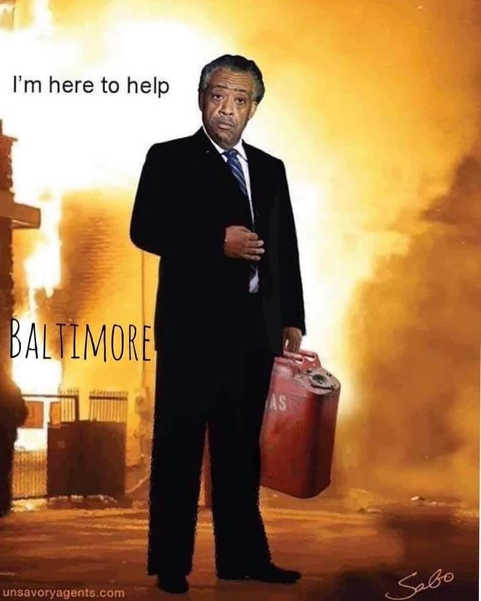 al shapton im here to help in baltimore gasoline on fire