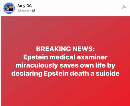 amy dc breaking news epstein medical examiner saves own life by declaring suicide