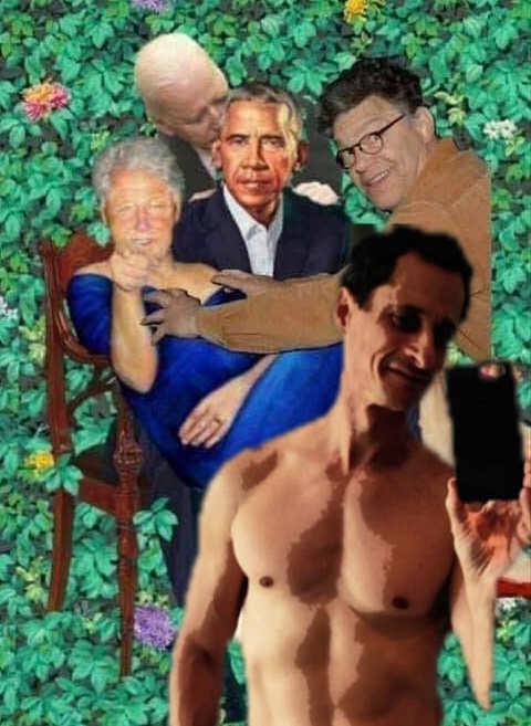 anthony weiner bill clinton jeffrey epstein biden franken blue dress painting