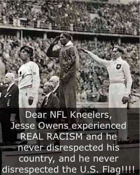 dear nfl kneelers jesse owens experience real racism and never disrespected flag