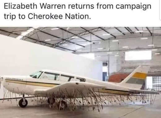 elizabeth warren returns from campaign trip cherokee nation arrows in plane