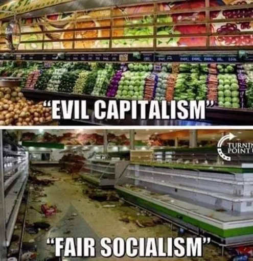 evil capitalism fair socialism grocery store comparison