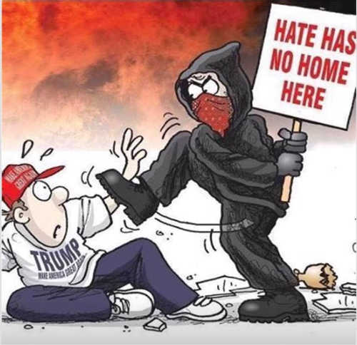 hate has no here antifa stomping trump supporter