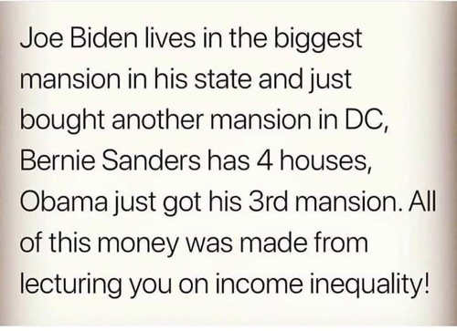 joe biden bernie sanders barack obama all multiple mansions made money on income inequality