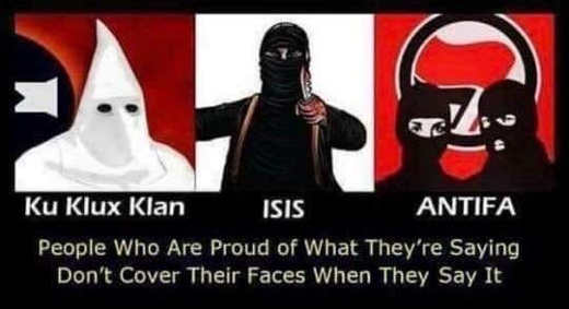 kkk isis antifa so proud of what saying have to hide face