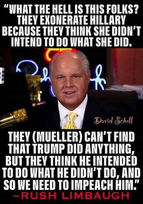quote limbaugh they exonerate hillary didnt intend trump nothing think he intended