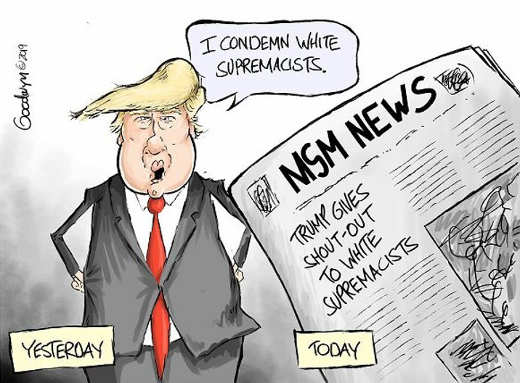 trump i condemn white supremacists mainstream media trump gives shout out