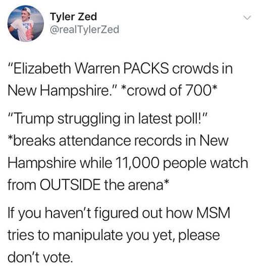 tweet elizabeth warren packed crowd 700 people trump struggling 11000 attend rally mainstream media