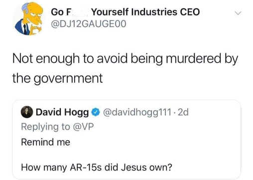 tweet how many ar-15s jesus own not enough to avoid being murdered by government