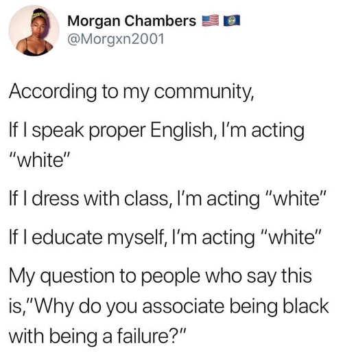 tweet morgan chambers according to my community speak dress educate well acting white