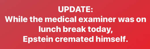 update while medical examiner on break epstein cremated himself